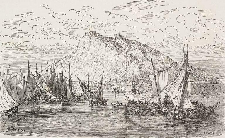 Ilustración del puerto de Alicante