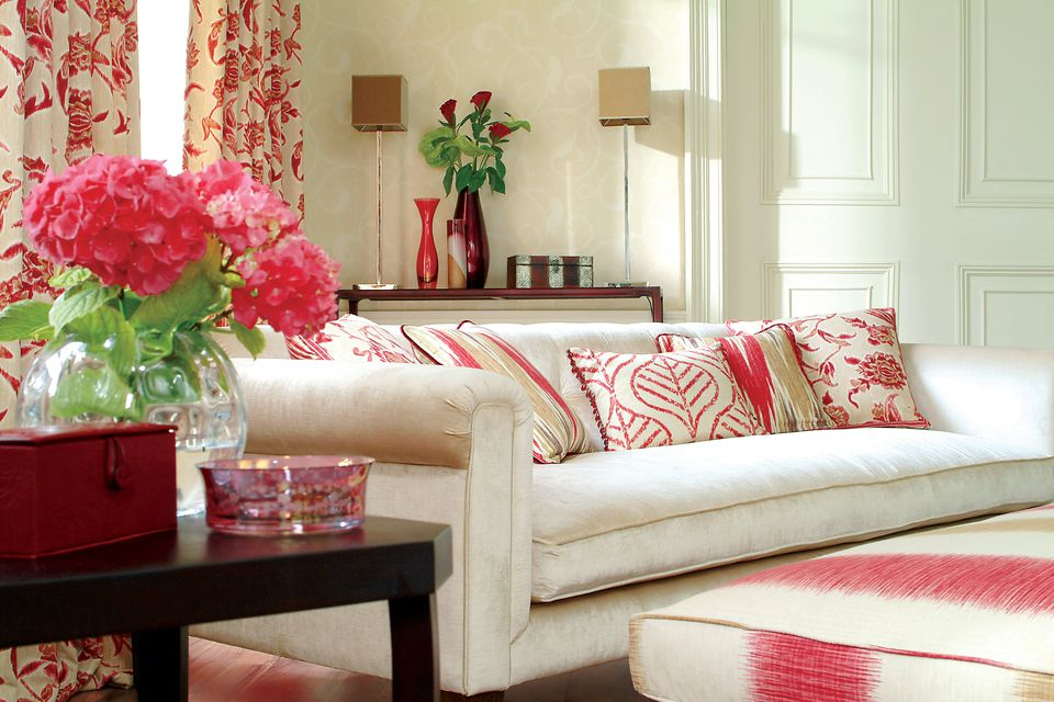 living room with bright pink color accents