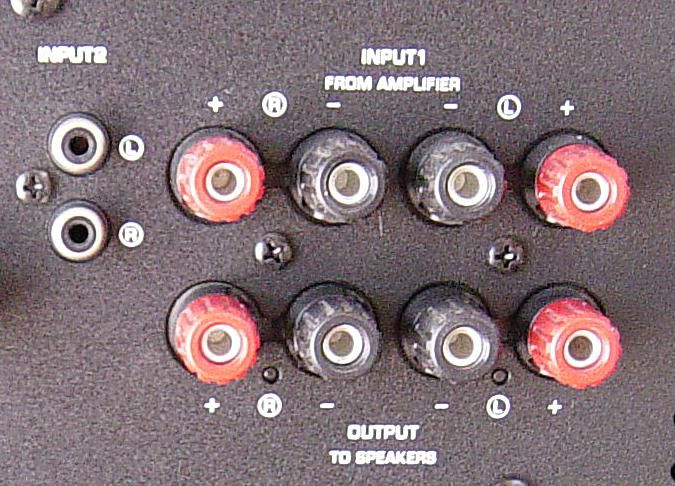 Input connections for a subwoofer