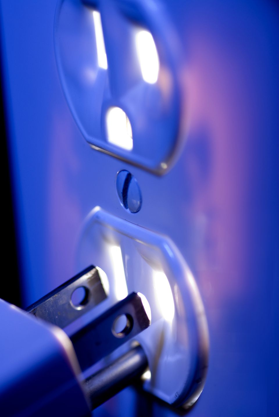Glowing Blue Electric Outlet