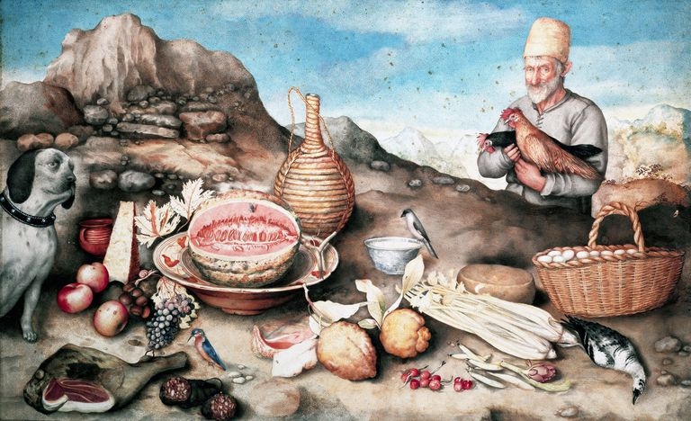 Still life with peasant and hens
