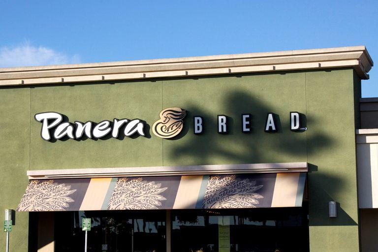 Panera Bread logo on side of building
