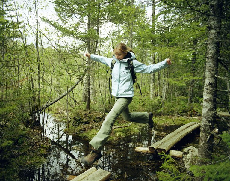 Maine Baxter State Park - Girl Jumping Creek