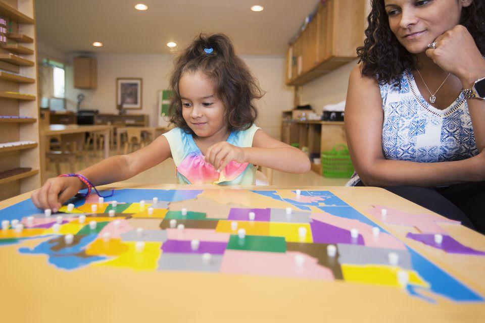 Montessori Preschool Teacher and student