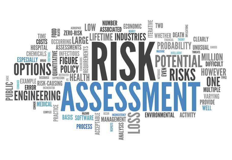 sign with words such as risk assessment, potential risks, risk-causing, chemicals, and more