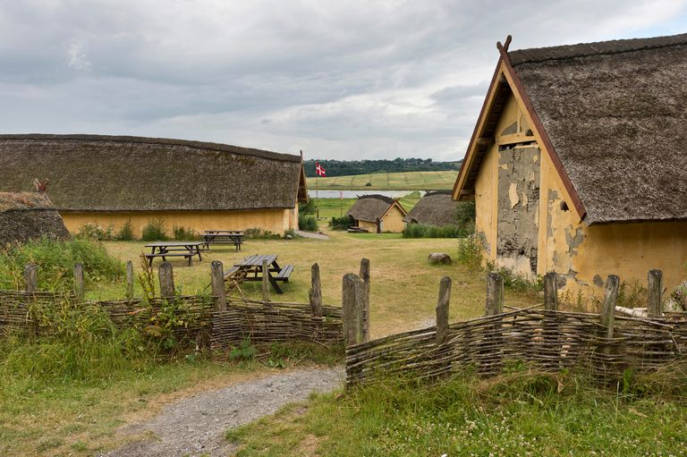 Reconstructed farm with nine houses of a large-scale farmer from the Viking Age, Viking Center Fyrkat, Fyrkat, Hobro, Denmark, Europe