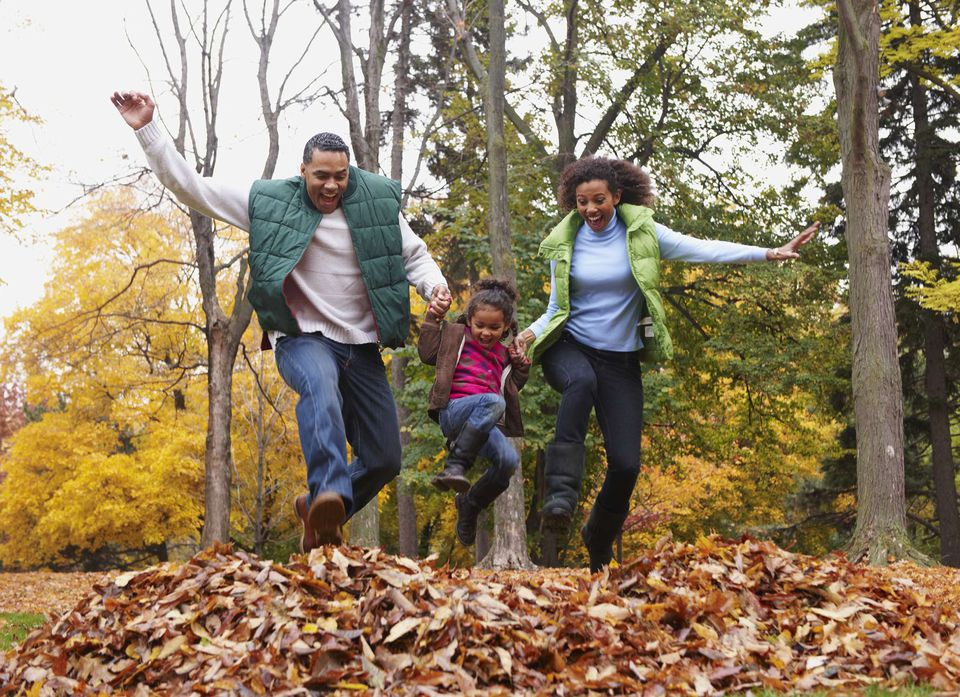 A picture of a family playing in the leaves