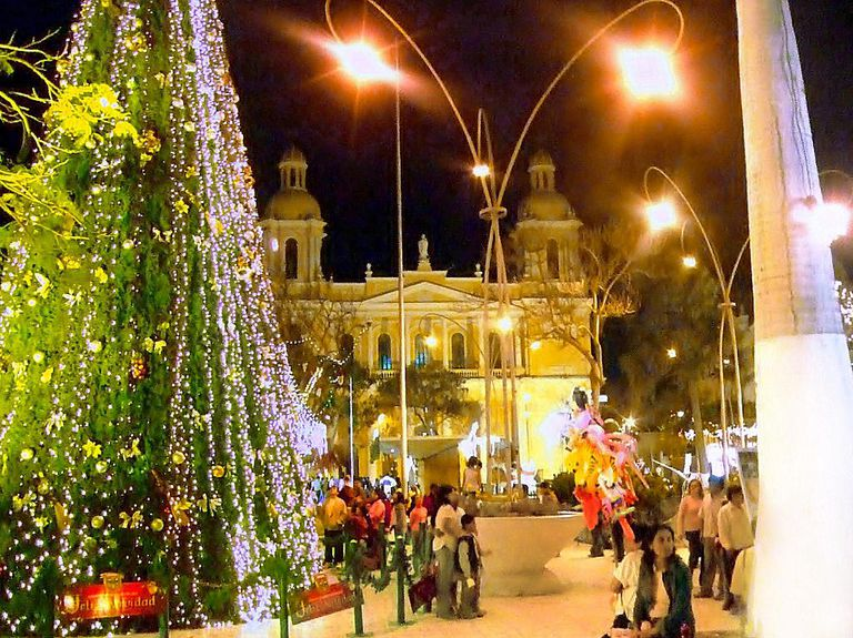 Cathedral in Chiclayo, Peru, at Christmas.