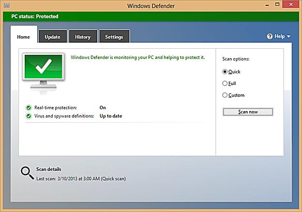 Windows Defender user interface.