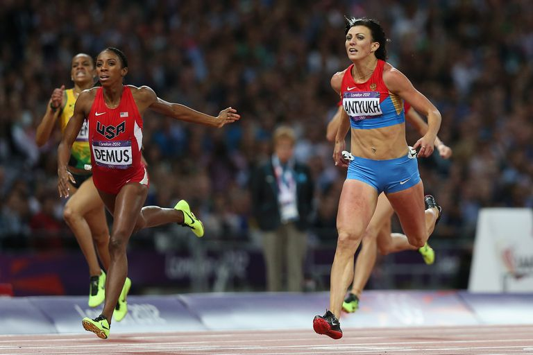 A sprinting event during the 2012 London Olympics.