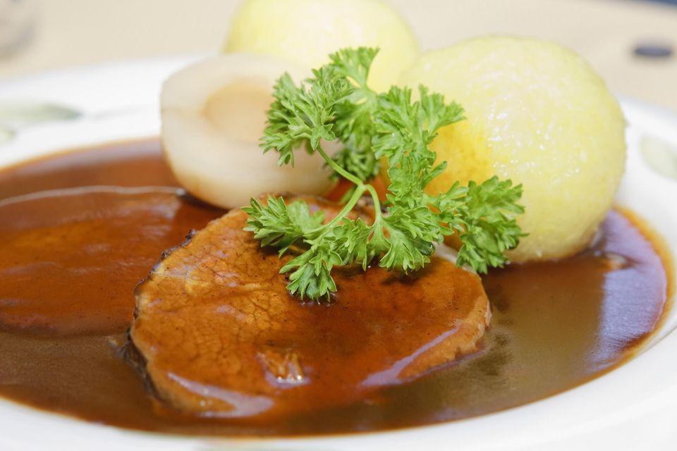 Sauerbraten, marinated beef, with dumplings