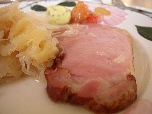 Sauerkraut with Pineapple Served with Ham