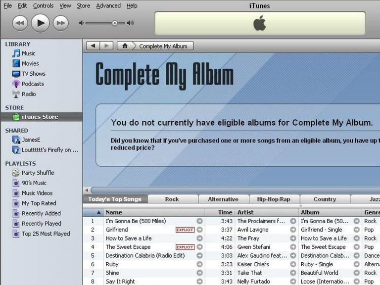 Complete my album feature in iTunes