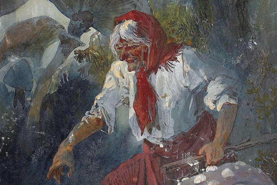 Baba Yaga, 1889. Artist: Karasin, Nikolai Nikolayevich (1842-1908)