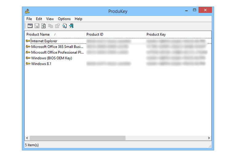 Screenshot of ProduKey v1.83 in Windows 8