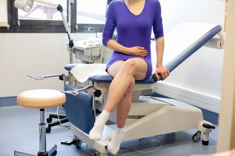 Woman undergoing gynecological consultation.