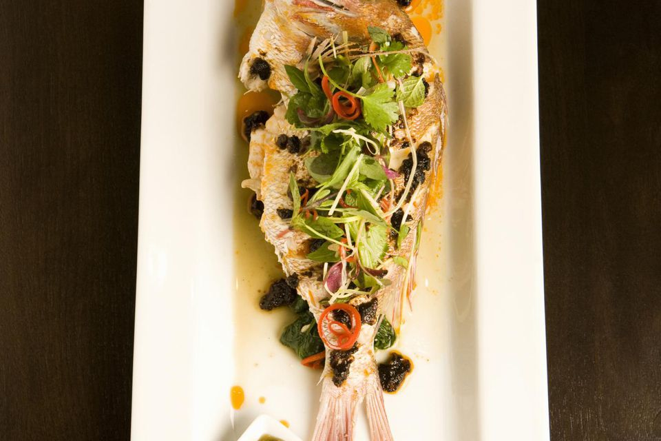 Steamed whole red snapper