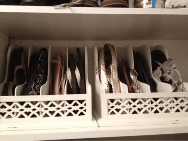 Store flip flops in a letter organizer
