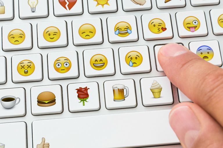 Picture of a keyboard with emoticons