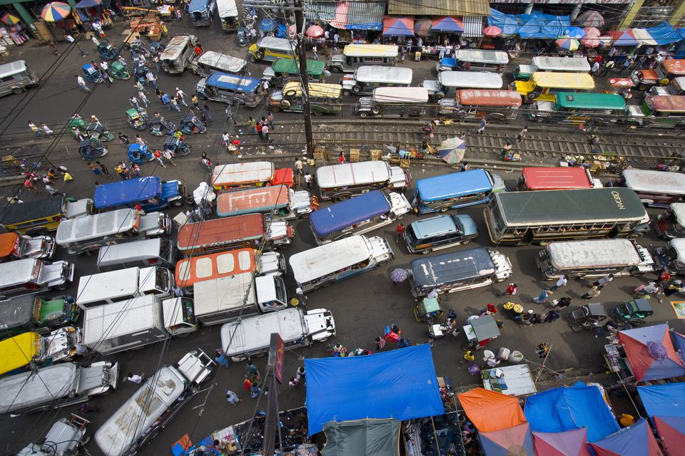 Overhead of jeepneys clogging main road of Divisoria Market, Manila, National Capital Region, Philippines, South-East Asia