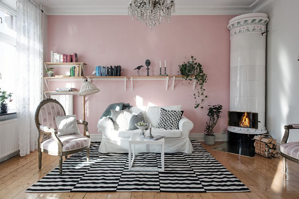 shabby chic living room with pink accent wall - Interior Design For Small Spaces Photos