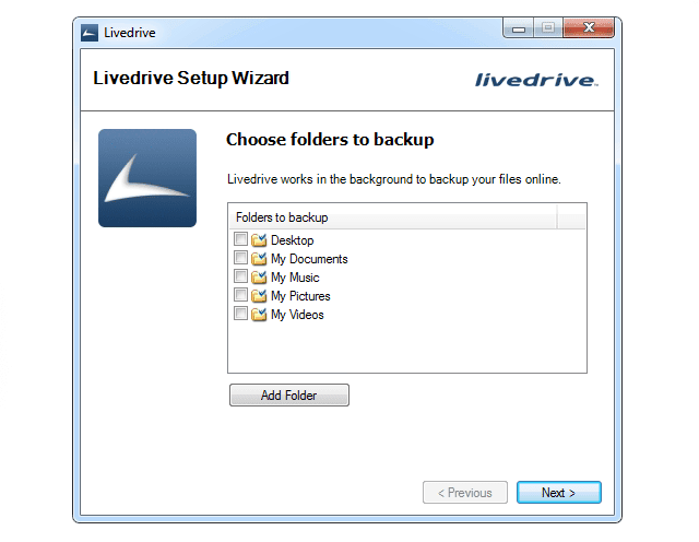Screenshot of the Livedrive Setup Wizard