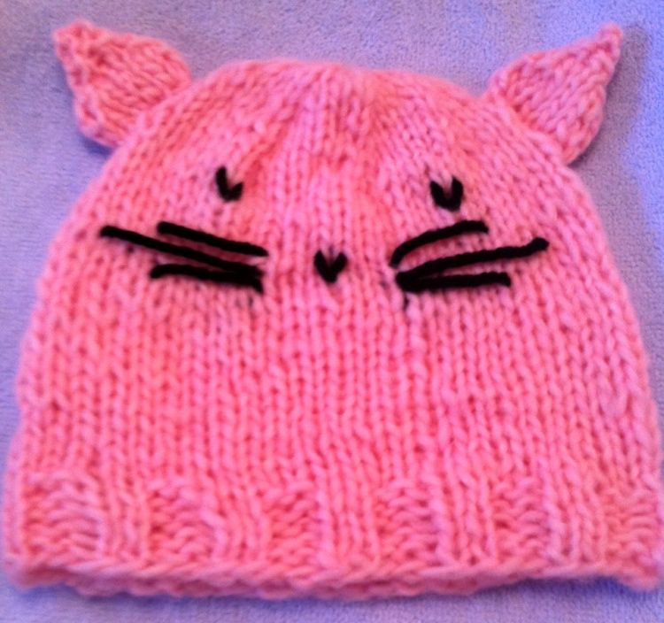 Free Knitting Pattern for a Child's Cat Hat