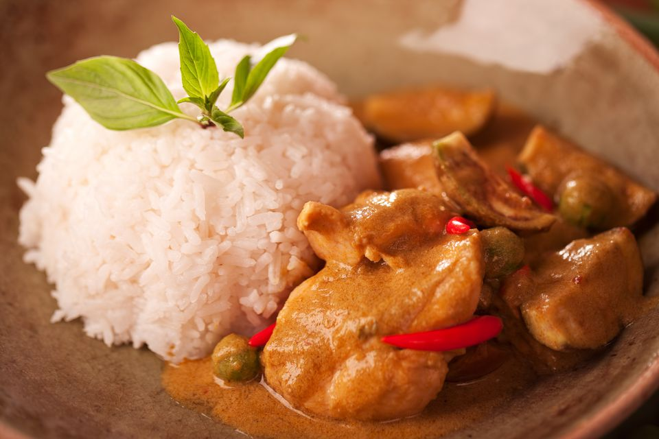 Thai chicken curry with rice in a bowl.
