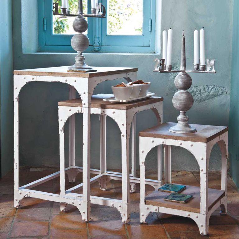 Mesas nido en madera y metal