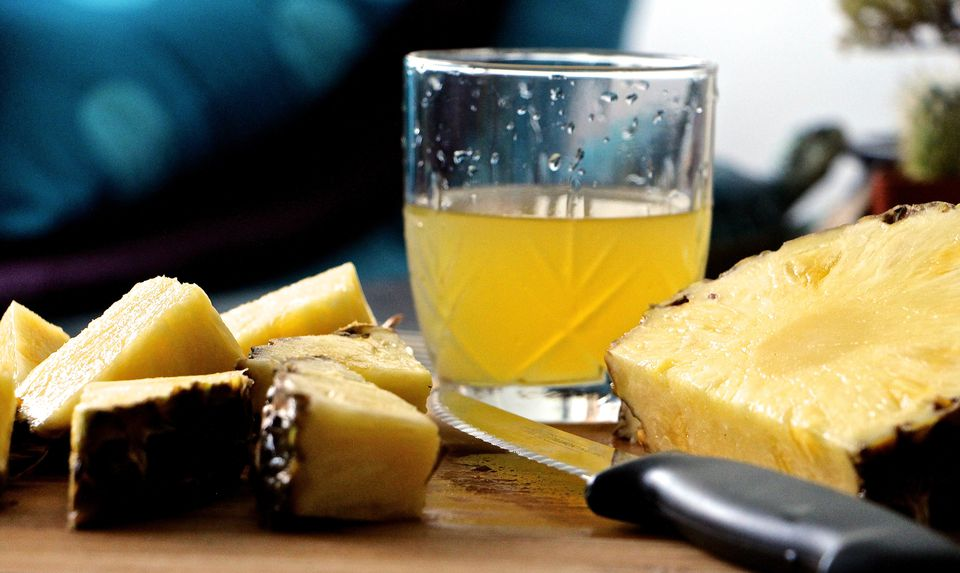 Close-up of Pineapple Slices And Juice