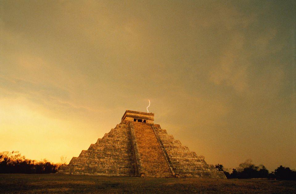 Mexico,Chichen Itza,lightning over pyramid.