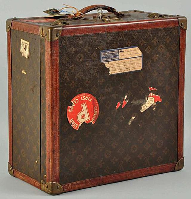 Louis Vuitton Classic Luggage with Cunard First Class Sticker.