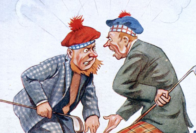 Illustration showing two golfers arguing
