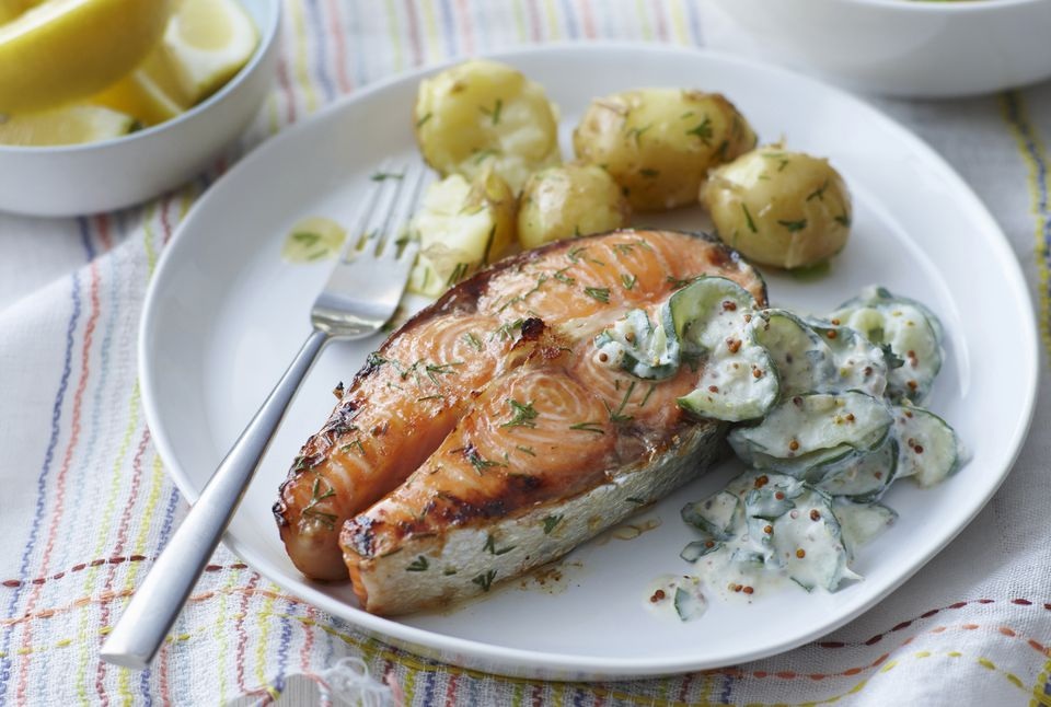 Baked Salmon Steaks With Sour Cream And Dill