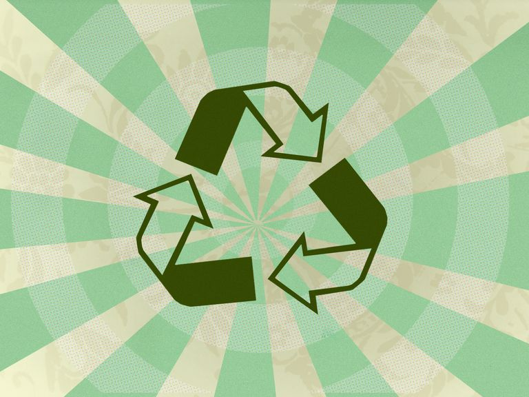 A picture of a recycling logo.