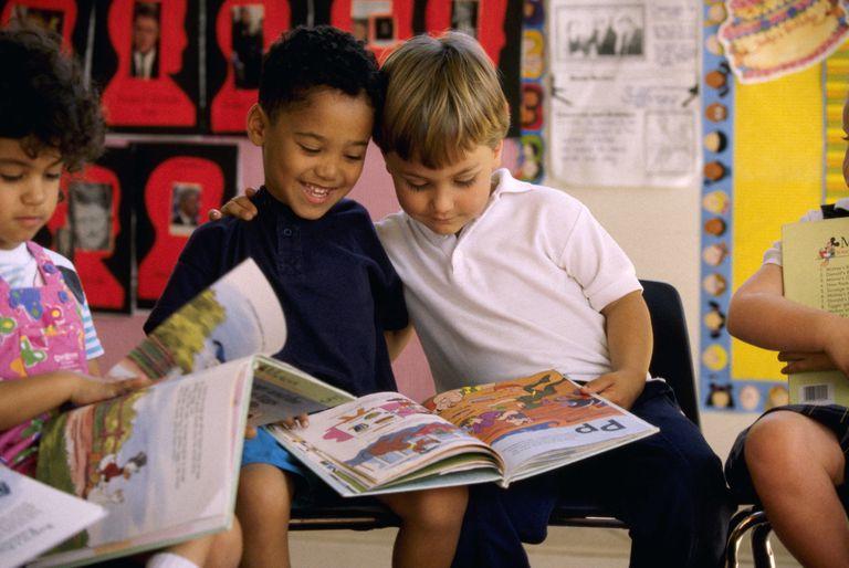 Little boys reading in class