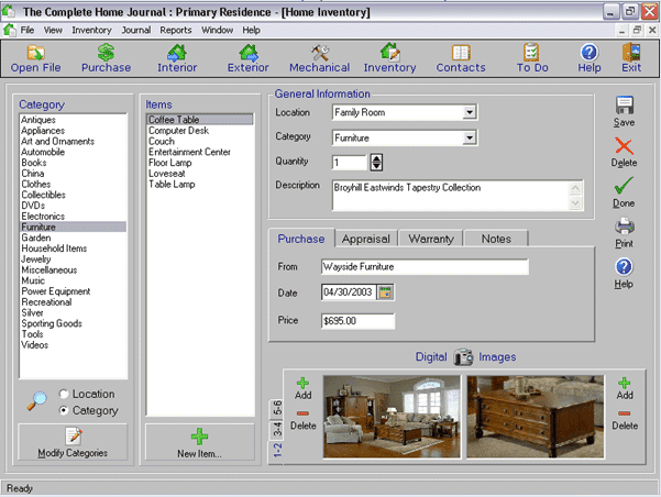 Personal Home Inventory Software for Windows and Mac