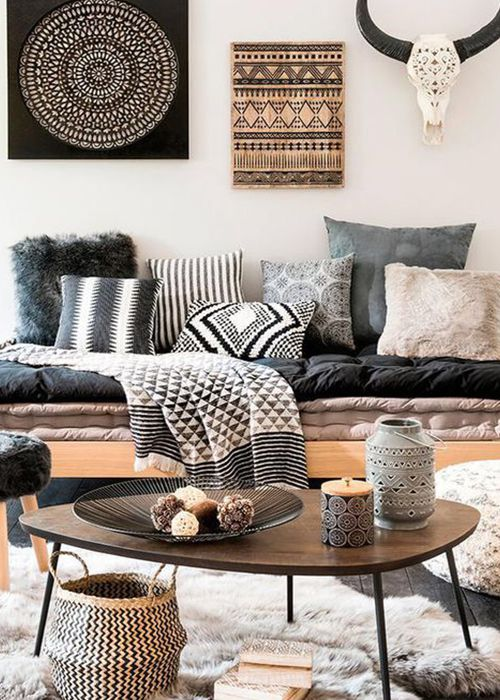 A living room with global accessories
