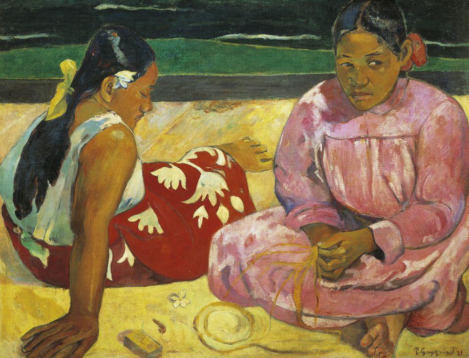 Tahitian women on beach, 1891, by Paul Gauguin (1848-1903), oil on canvas