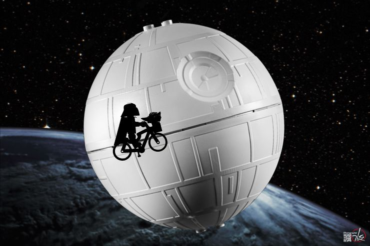 Darth Vader on a bicycle, invoking E.T.