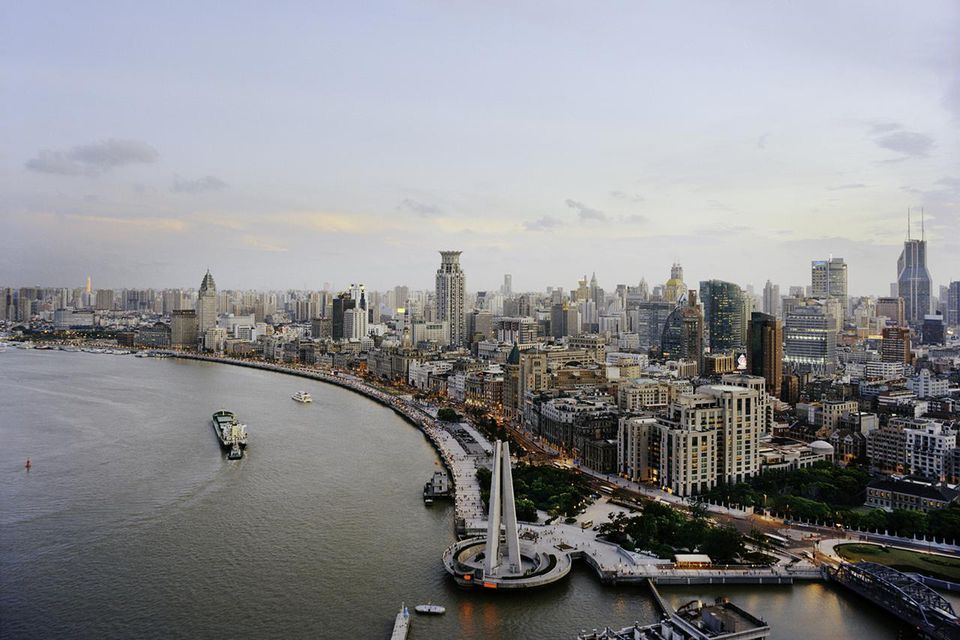 Shanghai's Huangpu River and Bund district