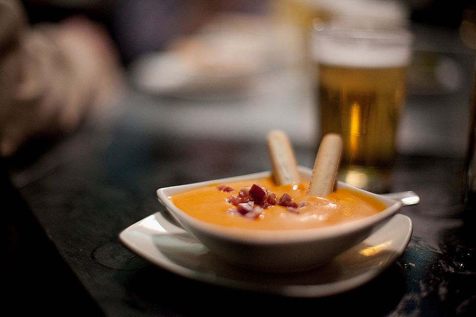 Tapapies: Lavapies Tapas Fair in Madrid MADRID, SPAIN - OCTOBER 30: A tapa of Salmorejo is served on the bar at a Tapas Bar during the Tapapies Fair on October 30, 2011 in Madrid, Spain.