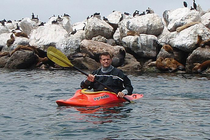 Kayaking along the Monterey Bay Coast Guard Pier