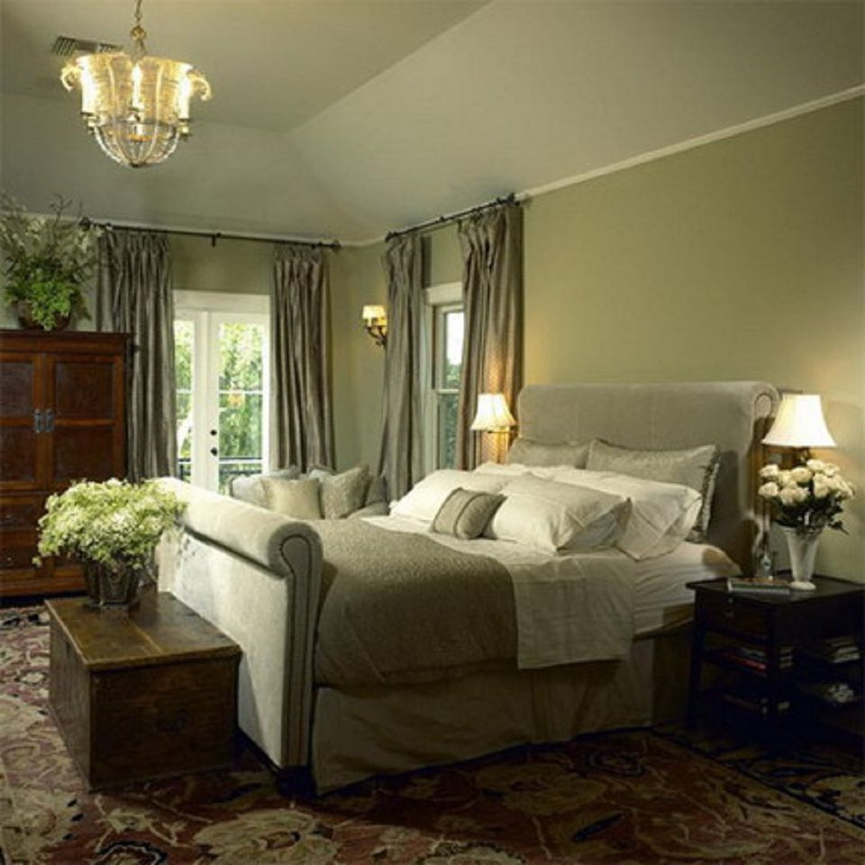 Traditional sage green bedroom.