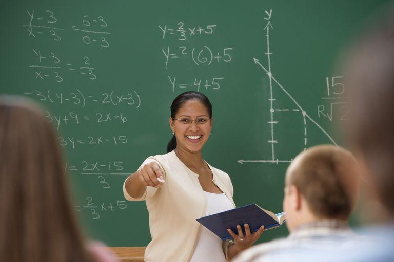 Teacher standing at the chalkboard