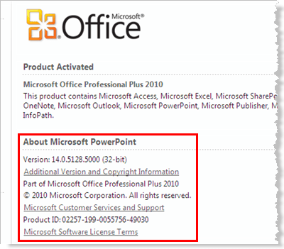 PowerPoint 2010 version information