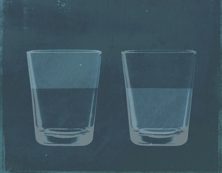 Image of a glass half full and glass half empty