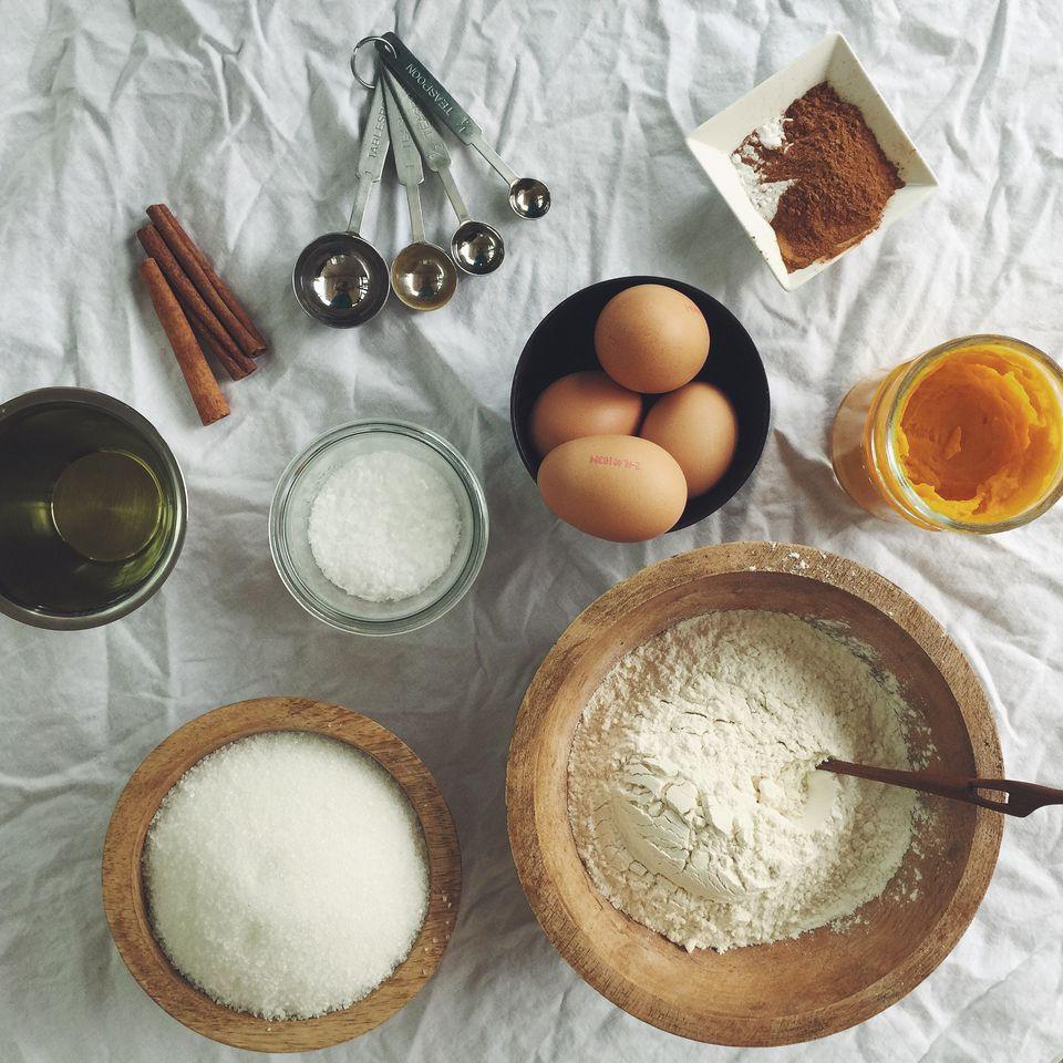 Overhead view of cake baking ingredients