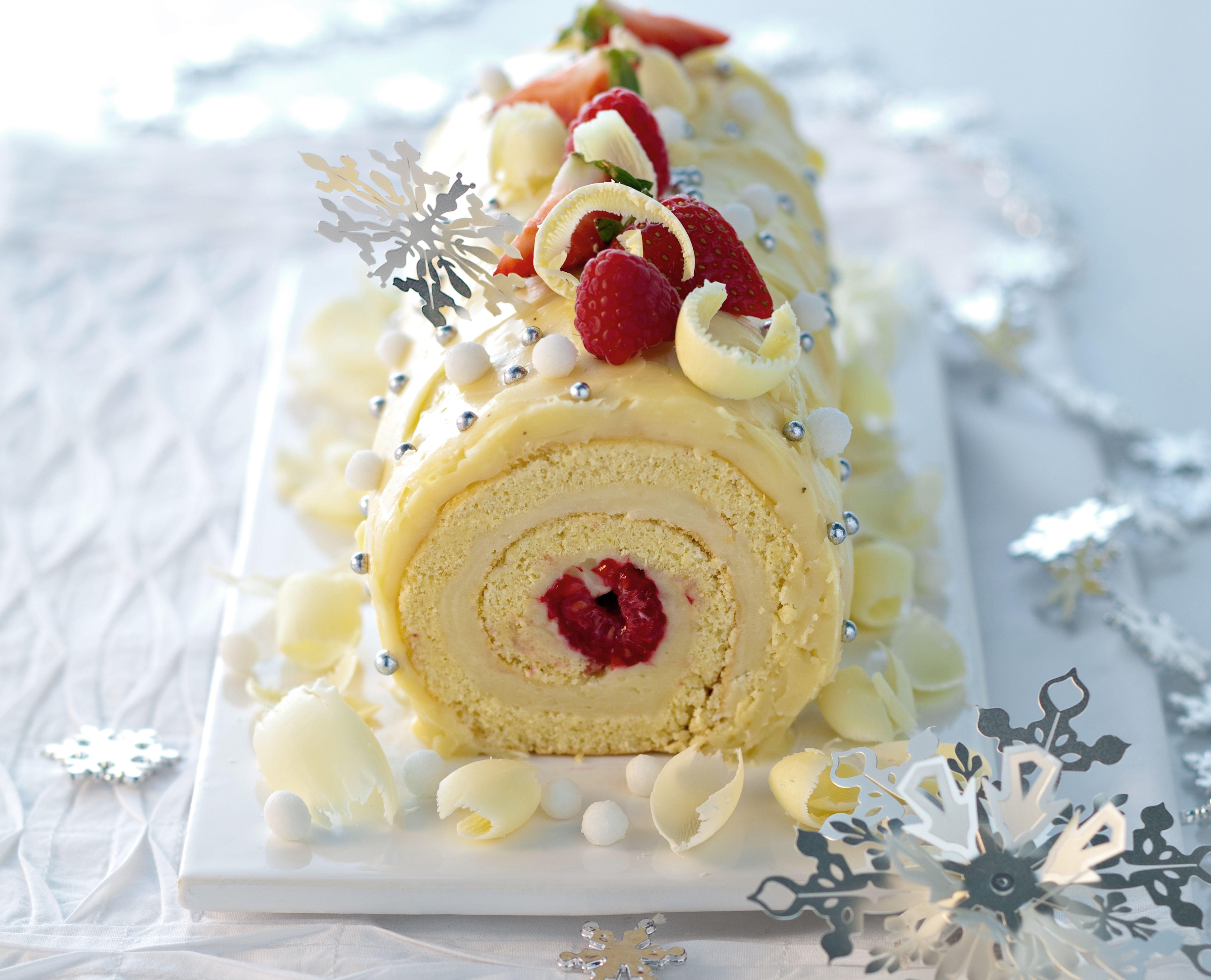 White Chocolate Yule Log Cake Recipe