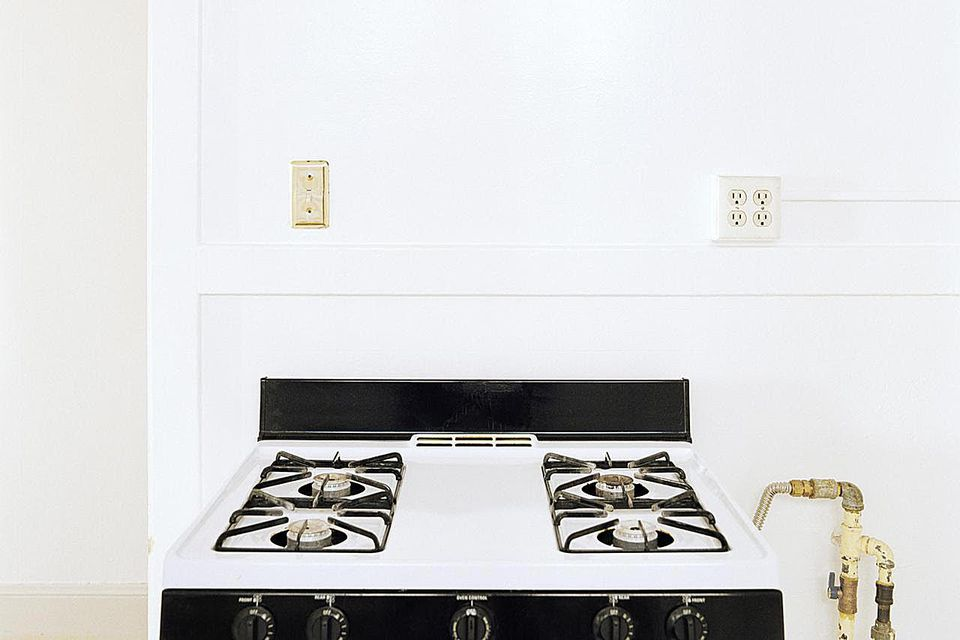 Gas stove in kitchen